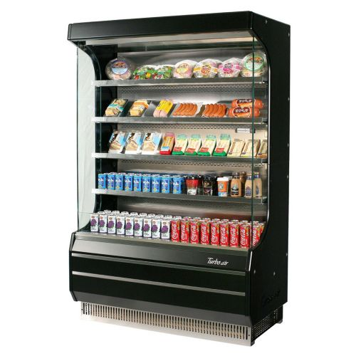 Turbo Air TOM-40B-SP-A-N Open Display Vertical Merchandiser 39-Inch L Full Size Solid Side Panel-Black Ext.& Int.
