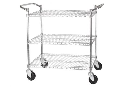 Winco VCCD-1836B, 18х36-Inch Wire Shelving Cart, Chrome Plated, 3 Tiers