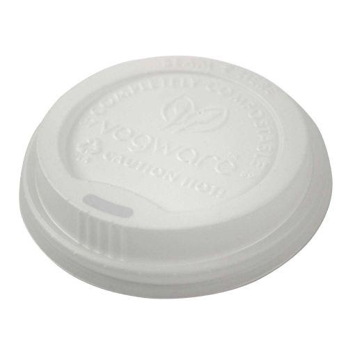 Vegware VLID89-A1, CPLA Hot Cup Lid (89mm Rim, Fits 10-20-Ounce Cup), 1000/CS, ASTM, BPI, Cedar Grove, OK Compost