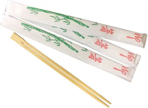 WCHOP 9-inch Bamboo Chopsticks in White Individual Wrapping, 700/CS