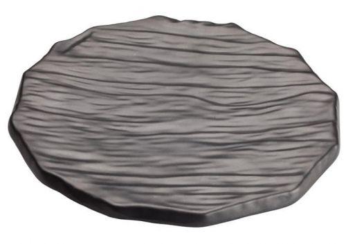 Winco WDM019-301, 11-1/2-Inch Dia Ardesia Kaori Round Hammered Melamine Platter, Black, 12/CS